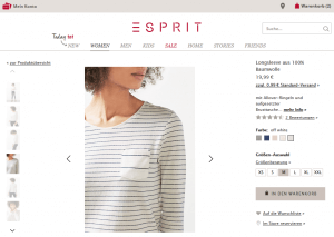 Virtueller Warenkorb bei ESPRIT