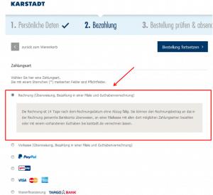 Karstadt: Zahlart auswählen
