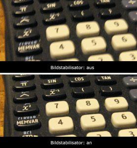 Bildstabilisator an/aus Vergleich